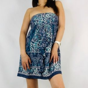 AE Outfitters Strapless Blue Floral Dress